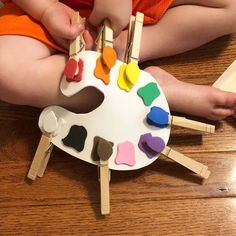 I made this color matching Fine Motor activity a couple years ago for Little Miss 4 and just pulled it out again for Little Man 2. He is�