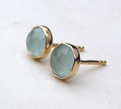 Gold earrings Aquamarine chalcedony Gold studs earrings  Recycled 14k yellow gold earrings stud post on Etsy, $95.00