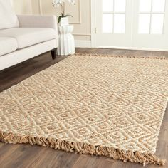 safavieh casual natural fiber handwoven sisal style natural ivory jute rug 6
