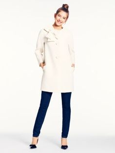 kate spade new york: something like this coat. Need like cream or black. love the bow. Gotta prepare for London weather.
