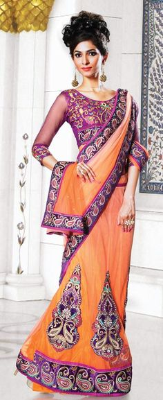 $89.93 Peach Embroidered and Stone Work Lehenga Saree 26657