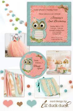 Coral & Aqua Owl Birthday Party Ideas - Owl Themes, Colors