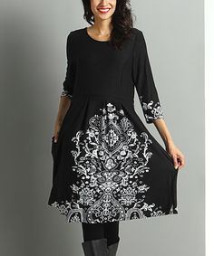 Another great find on #zulily! Black & White Arabesque Fit & Flare Dress #zulilyfinds