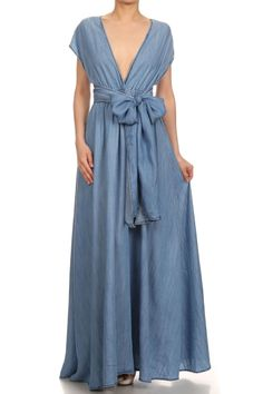 "$74 Multi wrap maxi dress in denim. Several ways you can wrap the top to your liking.   100% tencel   60"" long  In stock   Link -->> http://www.blu-ivoryboutique.net/collections/dresses/products/denim-multi-wrap-maxi?variant=16695779329"