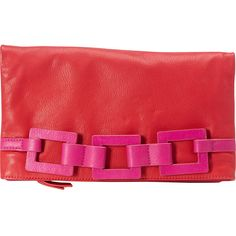 Trina Turk Tiki Twist Clutch Clutche ($177) ❤ liked on Polyvore featuring bags, handbags, clutches, designer handbags, red, colorblock purse, trina turk handbags, color block handbag, chain handbags and trina turk purse
