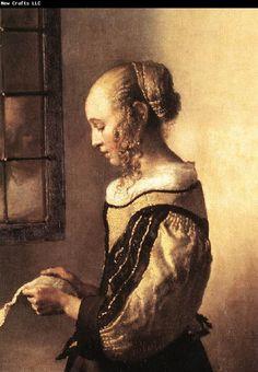 Jan Vermeer - A Girl Reading a Letter by an Open Window (detail)