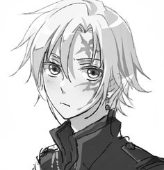 Allen Walker, D.Gray-Man. Anime boy, manga, black and white, monochrome. Original Artist: koriki@2日目東キ53a on Pixiv. Edit: removal of color and some contrast.