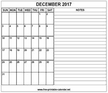 printable 2017 december calendar