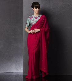 Am:Pm Fuchsia Embroidered Georgette Saree Indian Attire, Indian Ethnic Wear, Traditional Fashion, Traditional Outfits, Indian Dresses, Indian Outfits, Saree Jackets, Saree Trends, Stylish Sarees