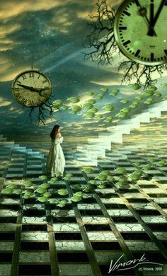 parallel dreamer II by vimark Surrealism Clock Art, Clocks, Art Sculpture, Foto Instagram, Time Art, Surreal Art, Art Plastique, Vanitas, Oeuvre D'art