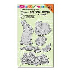Cling Backyard Bunnies Rubber Stamp Set
