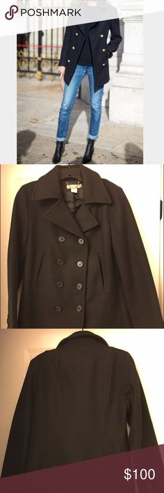 J.Crew Retail Peacoat A closet staple. Classic black peacoat with black buttons. Great condition. Needs a lint roller and it will be like new. 1st pic is for styling only....is NOT this coat. J. Crew Jackets & Coats Pea Coats