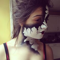Cracked Mask Makeup for Halloween Mask Makeup, Fx Makeup, Contour Makeup, Costume Makeup, Halloween Make Up, Halloween Face Makeup, Halloween Dance, Halloween Costumes, Halloween Party