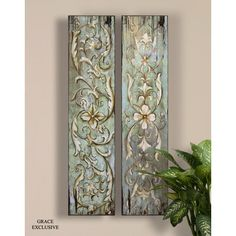 Uttermost Climbing Vines and Florals Wall Art in Hand Applied Sand Texture (Set of 2)