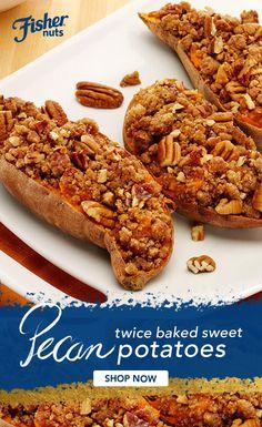 Thanksgiving Recipes, Fall Recipes, Holiday Recipes, Great Recipes, Favorite Recipes, Twice Baked Sweet Potatoes, Potato Side Dishes, Sweet Potato Recipes, Vegetable Dishes