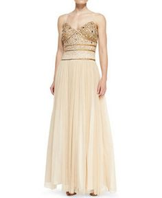Aidan Mattox Spaghetti Strap Beaded and Tulle Gown 054456400