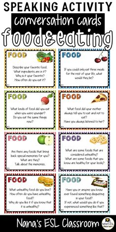 Ignite conversation in your classroom with these engaging conversation starter cards about food, eating habits, eating out and dieting. A total of 40 cards with one or more questions per card. English Language Learning, Teaching English, Teaching Spanish, Spanish Language, French Language, Conversation Starters For Kids, Conversation Topics, English Lessons, Learn English