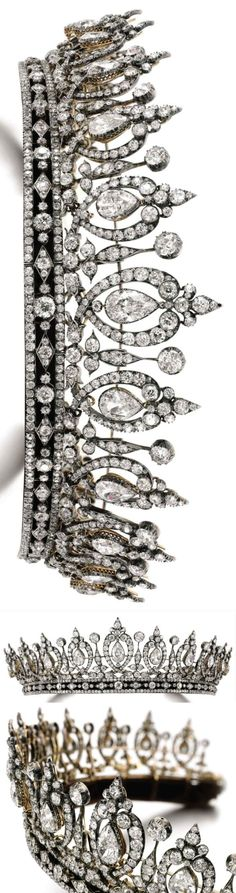 Diamond tiara/necklace belonged to Mary, Duchess of Roxburghe, last quarter 19C. Fleur de lys and scroll motifs, swing set with graduated pearshaped diamonds, on a band composed of lozenge and trefoil motifs, set throughout with cushion-shaped and rose diamonds. Images Sotheby's.