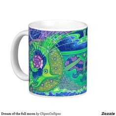 """Dream of the full moon"" classic white coffee mug #mermaid, #fantasy,  #fish, #ocean, #surreal, #surrealistic, #visionary, #underwater, #psychedelic, #art, #painting, #fairytale, #hallucinative, #sea, #water, #green, #blue, #navy, #fairy, #purple, #violet, #pink, #colorful, #vivid, #vibrant, #spirit, #aqua, #helix, #seashell, #enigmatic, #magical, #creatures, #meditative, #fullmoon, #full, #moon, #deep, #marine, #aquatic, #zazzle, #zazzleartist, #print, #printshop, #printed, #porcelain, #mug"