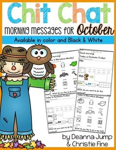 GIVEAWAY!!! on Mrs. Jump's Class - https://www.facebook.com/MrsJumpsClass  Morning Messages: Chit Chat October NO PREP