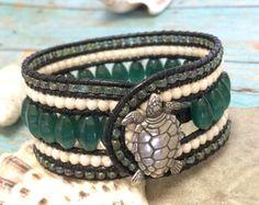 Amazonite Bracelet Beaded Leather Cuff Semi Precious