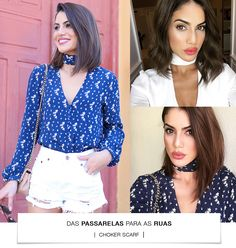 From the Runway to StreetStyle: Choker Scarf (Super Vaidosa) Camisa Choker, Divas, Scarf Styles, Hair Styles, Silk Scarves, Hair Inspiration, New Trends, Chokers, Runway