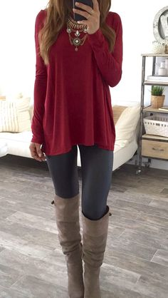 Grey Leggings Outfit, Outfit Ideas With Leggings, Fall Leggings, Cute Legging Outfits, Long Shirts For Leggings, Outfits With Grey Boots, Boots And Leggings, Outfits With Red, Maroon Shirt Outfit
