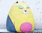 Cat Sculpture Figurine, Animal Sculpture, Small Ceramic Sculpture 4.7 by 4.3 inches