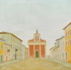 Antonio Donghi 1897 - 1963 PIAZZA DI PAESE SIGNED AND DATED 44, OIL ON BOARD