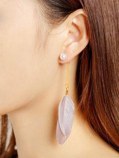 Pendientes con adorno de pluma con perla de imitación -Spanish Romwe Sitio Móvil