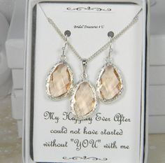 Peach / Silver Bridesmaids Necklace Set, Peach Jewelry, Peach Bridesmaid, Wedding EG1 by BridalTreasures4U on Etsy