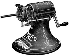 Here is a black and white vintage clip art image of a Roneo brand pencil sharpener. The image is from the Northern School Supply Company catalog that was published in 1913. Click on image to enlarg…