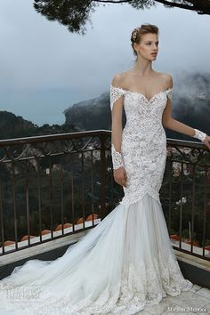 michal medina spring 2016 bridal off the shoulder lace trumpet mermaid wedding dress mia
