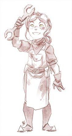 Child Asami with her favorite wrench. Patreon reward sketch.