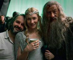 """Peter Jackson, Cate Blanchett e Ian McKellen durante as gravações de """"O Hobbit: Uma Jornada Inesperada"""" (2012)"""