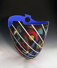 Tall Black Sculpted Portal Vase with Stripes by Jean Elton (Ceramic Vase)