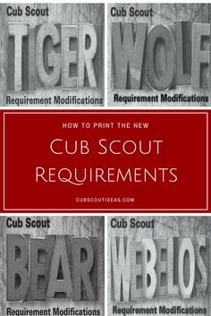 The new Cub Scout requirements modifications documents are now available to download.  Get the links here as well as hints on how to print them so they'll fit in your son's handbook. via @CubIdeas