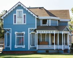 What Shade of Blue Should You Paint Your House?: Blue House with Ornate Victorian Trim