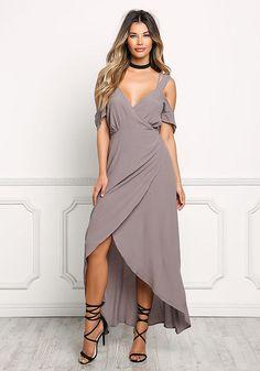 baa45e8d3ab Grey Cold Shoulder Wrap Maxi Dress Maxi Wrap Dress