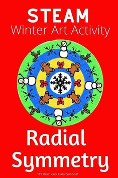 Here's a fun math and art lesson, center, or early finisher activity for Christmas, winter, and Hannukah. Students design their own unique design featuring radial symmetry. Various templates and visuals. Script is included. Symmetry Activities, Snow Activities, 3rd Grade Art, Fourth Grade, Third Grade, Math Art, Fun Math, Easy Art Lessons, Art Sub Plans