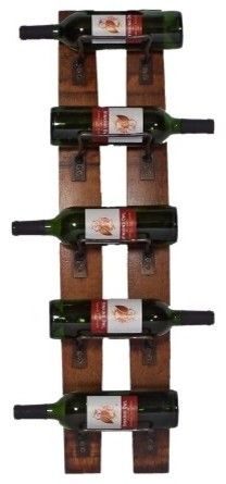 f21c179dbdc Vermont Industries Barrel Stave 5 Bottle Wall Rack - A furniture collection  made from previously-used white oak wine barrels. This 5 bottle wine rack  is ...