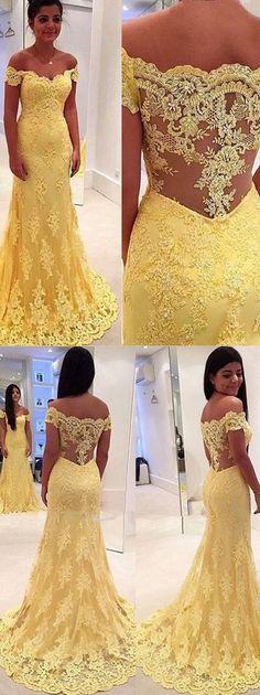 Elegant Sheath Yellow Lace Off Shoulder Long Prom Dress