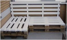 Garden:Wood Pallets Outdoor Furniture White Pallet Bench Outdoor Bench Ideas Diy Outdoor Bench Easy DIY Patio Furniture Projects You Should Already Start Planning Recycled Furniture, Pallet Furniture, Furniture Projects, Wood Projects, Outdoor Furniture Sets, Building Furniture, Porch Furniture, Furniture Plans, Furniture Design