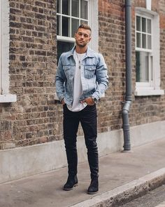 Coachella Outfit Men, Dope Fashion, Mens Fashion, Urban Clothing Brands, Revival Clothing, Mens Style Guide, Denim Jacket Men, Style Guides, Menswear