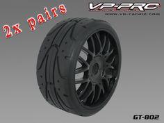 2 χ Ζευγάρια (1 Τετράδα) GT802G-RB-UF GT on road 1/8 Buggy  Rubber Tyre【Tyre+Insert+black Rim】Ultra Flexx