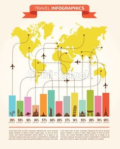Vector Art: Travel and flight infographics with data icons, elements