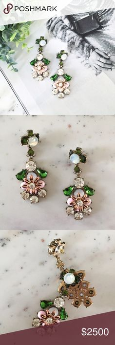 """""""Marielle"""" Earrings    Pink/Green Floral Statement Stunning & elegant, the """"Marielle"""" gem earrings are perfect for both a fabulous holiday soirée or a night of dancing 'til dawn! With their dangling floral crystal embellishments, you're sure to turn heads in these gorgeous oversized jewel statement earrings. These beauties feature light pink, emerald green, white, & clear crystal rhinestones set in gold colored zinc alloy. They are stud earrings with push backs. Unbranded & new with protecti"""