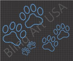 Rhinestone Paws Files Pattern Tracks Prints Dog Prints Bling Stone Easy