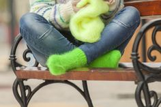 FREE SHIPPING Tiffy Mohair Socks Leg warmers Hand Knitted Fuzzy Fluffy Thick Unisex Made to order T 499 by TiffysMohair on Etsy