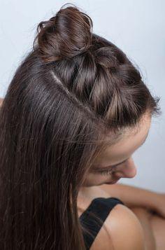 Half-Braided hair tutorial half braided hairstyles, braided hairstyles for black women, easy Half Braided Hairstyles, Braided Hairstyles Tutorials, Girl Hairstyles, Hairstyles Pictures, Braid Tutorials, Cute Hairstyles For Medium Hair, Fashion Hairstyles, Curly Braided Hair, Simple Girls Hairstyles